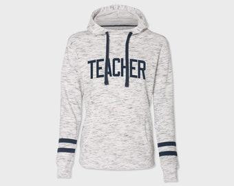 Teacher - Melange Fleece Striped Sleeve Varsity Hoodie