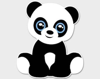 "Cute Panda Bumper Sticker Decal 4"" | Panda Bear Laptop Sticker | Laptop Decal | Cute Panda | Anime | Panda Laptop Sticker"