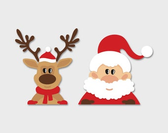 Christmas Decal - Reindeer, Santa, Rudolph, Window Sticker, Holiday