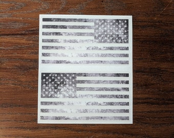"6"" - Set of 2 - Jeep Wrangler American Flag Decals Matte Black - 6"" x 3.16"" Holiday Special Distressed Print"