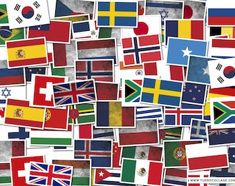 "Country Flag Decals 6"" Wide International"
