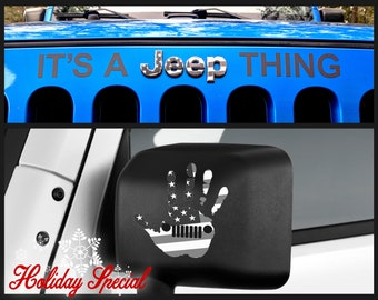 It's A Jeep Thing Hand Wave Wrangler Grill Emblem Overlay Sticker Decal Holiday Special Kit