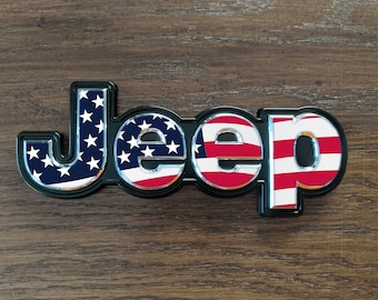 Set of 2 - Jeep Cherokee 2014 2019 USA American Flag Decal Emblem Overlay | Jeep Decal | Latitude | Overland | Trailhawk | Limited | Elite
