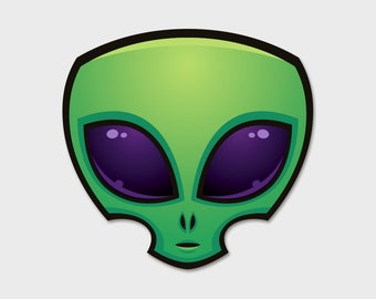 Alien Head Space Bumper Sticker Decal 4""