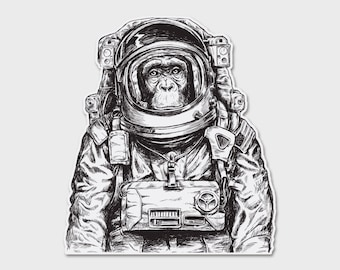 Space Monkey Bumper Sticker Decal 4.29"