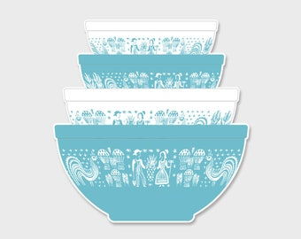 Pyrex Butterprint Amish Nesting Mixing Bowls Sticker Decal