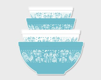 Pyrex Butterprint Amish Nesting Mixing Bowls Sticker Decal  | Gift for Her | Rare Pyrex | Laptop Sticker | Laptop Decal | Pyrex Prints