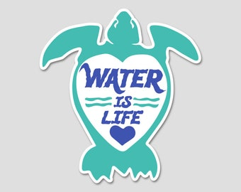 Water is Life Bumper Sticker Decal | Turtles | Turtle Sticker | Ocean Decal | Laptop Decal | Laptop Sticker | Environmental