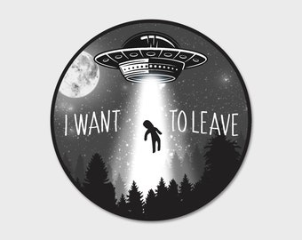 Alien Abduction Space Bumper Sticker Decal 4"