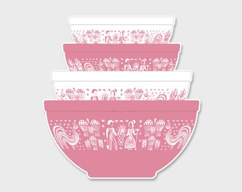 Pyrex Butterprint Amish Nesting Mixing Bowls Sticker Decal #2  | Gift for Her | Rare Pyrex | Laptop Sticker | Laptop Decal | Pyrex Prints