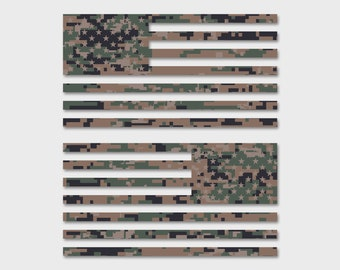 "6"" - Set of 2 - Jeep Wrangler American Camo MARPAT Flag Decals 