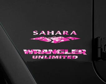 Set of 2 - Full Fender Replacement Set of Jeep Wrangler American Pink Magenta Camo Decals