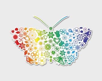 "Rainbow Gradient, Flowers, Butterfly Bumper Sticker Decal 6"""