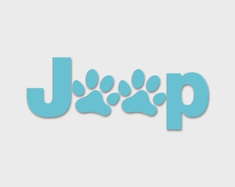 Jeep Wrangler Dog Paws Decal Sahara | JKU JK | Unlimited | Rubicon | Sport | Jeep Decal | Car Decal | Dog Decal | Paw