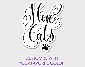 """I Love Cats Bumper Sticker Decal 5"""""""
