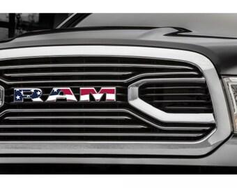 2015-2017 RAM 1500 Grille American Flag | USA | Emblem Decal Overlay | Big Horn | Laramie | Longhorn | Rebel | Tradesman