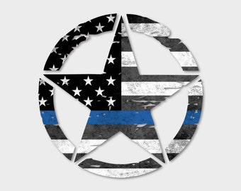 "Jeep Wrangler 20"" Thin Blue Line Oscar Mike Hood Star Decal Distressed American Flag Print USA Sahara 