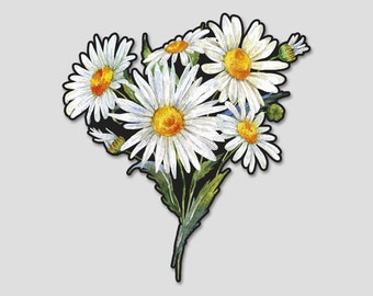 Flower Bouquet 2 Daisy Daisies Watercolor Bumper Sticker Decal | Flowers | Flower Sticker| Spring | Laptop Decal | Laptop Sticker
