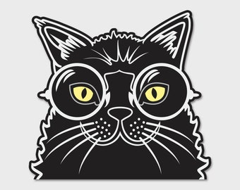 Hipster Black Cat 2 Bumper Sticker Decal 4.5""