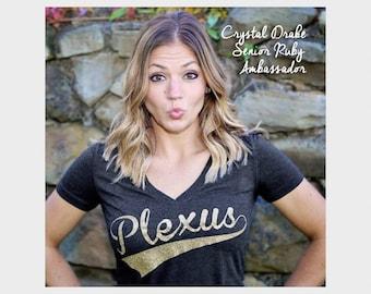 Plexus Glitter Script V-Neck Tee  20276312215Jg | Pink Drink | Team Tee | Gift for Her | Gold | Silver | Metallic | Ruby | Emerald | Diamond