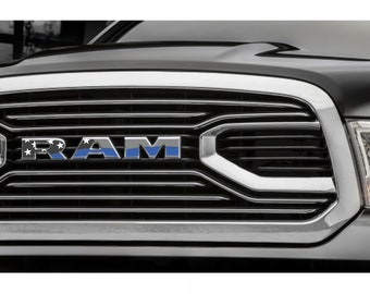 2015-2017 RAM 1500 Grille Thin Blue Line Emblem Decal Overlay | Big Horn | Laramie | Longhorn | Rebel | Tradesman