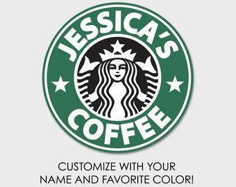 Custom Starbucks Coffee Sticker Tumbler Decal 4"