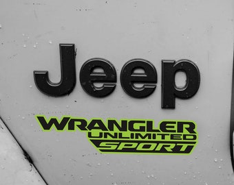 Set of 2 Fender Replacement Outline Decal | Jeep Wrangler JL JLU 2018 Sport Decals Matte Black | Jeep Decal | Sahara | Unlimited | Rubicon