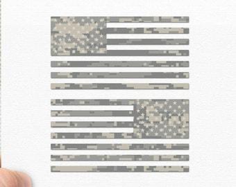 "6"" - Set of 2 - Jeep Wrangler American Camo Flag Decals - Sahara | JKU JK | Unlimited | Rubicon | JL"
