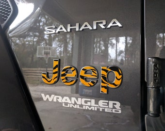 Set of 2 - Jeep Wrangler JL 2018 2019 Animal Print | Sticker Decal Fender Emblem Overlay | Sahara | JLU | Unlimited | Rubicon