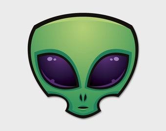 "Alien Head Space Bumper Sticker Decal 4""  | Laptop Sticker | Laptop Decal | Area 51 | ET | Extraterrestrials |  Space Sticker | Space Decal"