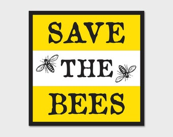 Save The Bees Bumper Sticker Decal 4""