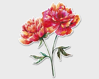 Flower Carnations Watercolor Bumper Sticker Decal | Red Flowers | Flower Sticker| Spring | Laptop Decal | Laptop Sticker | Carnations