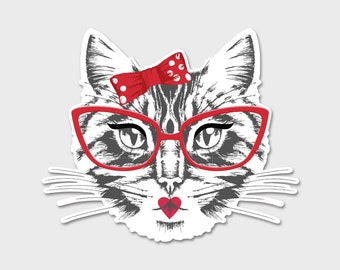 Hipster Cat 1 Bumper Sticker Decal 4.5""
