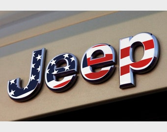 Jeep Wrangler JK JKU Flag Grill Emblem Overlay Sticker Decal Sahara | Unlimited | Rubicon