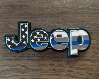 Set of 2 - Jeep Cherokee 2014 2019 Thin Blue Line Flag Decal Emblem Overlay | Jeep Decal | Latitude | Overland | Trailhawk | Limited | Elite