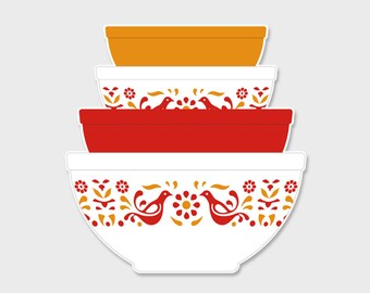Pyrex Friendship Nesting Mixing Bowls Sticker Decal #2