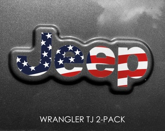 Set of 2 - Jeep Wrangler TJ Flag Sticker Decal 1997 2006 Sahara | Unlimited | Rubicon