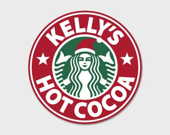 Custom Starbucks Christmas Hot Cocoa Eggnog Sticker Tumbler Decal 4""