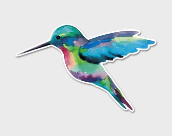 Hummingbird Beautiful Watercolor - Bumper Sticker Decal | Tropical Sticker | Laptop Decal | Laptop Sticker | Bird Sticker