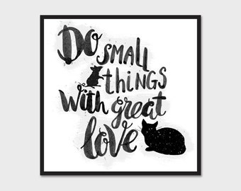 Do Small Things With Great Love Cat & Mouse Bumper Sticker Decal 4""