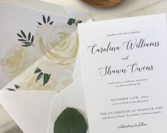 Elegant Calligraphy Wedding Invitation Sample / Letterpress or Digital Printing / Neutral Wedding / #1129