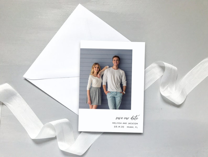 Clean  Wedding Stationery  #504 Simple Photo Save the Date  Minimalist