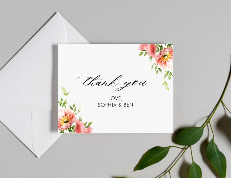 Wedding Thank You Cards  Classic Floral Invitation Suite  #1207