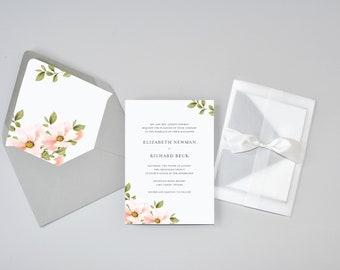 Elegant Blush Floral Wedding Invitation Suite / #1218