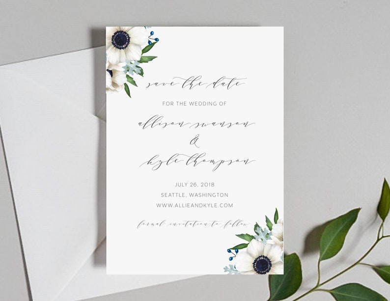 08d31a7b994e1 Wedding Save the Dates / Anemone Floral Invitation Suite / #1132