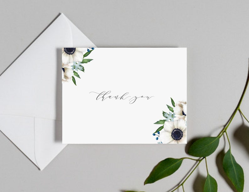 8def19932c0d9 Wedding Thank You Cards / Anemone Floral Invitation Suite / #1132