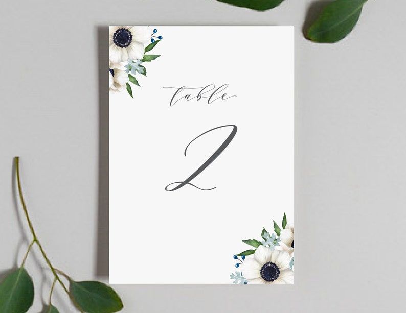 0a349944194fe Wedding Table Numbers / Anemone Floral Invitation Collection / #1132
