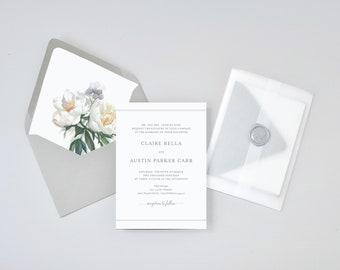 Classic White Floral Wedding Invitation Suite / #1213