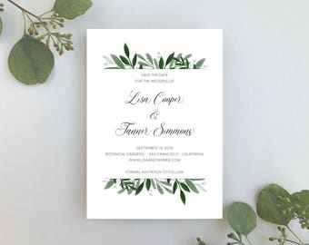Wedding Save the Dates / Elegant Greenery Wedding Invitation Sample / Botanical Garden Wedding Invite / #1161