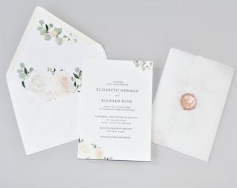 Elegant Blush Floral Wedding Invitation Suite / #1136